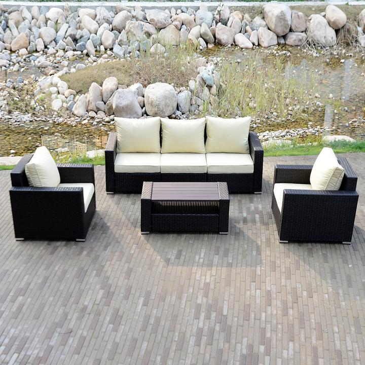 Luxury Outdoor Patio 6pc Rattan Wicker Sofa Sectional Furniture Set