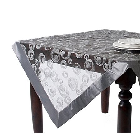 Navarre Embroidered Sheer Tablecloth (Silver, 72