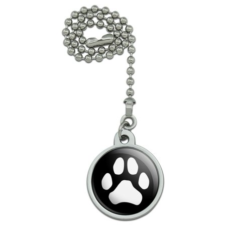 Ceiling Cat (Paw Print Dog Cat White on Black Ceiling Fan and Light Pull)
