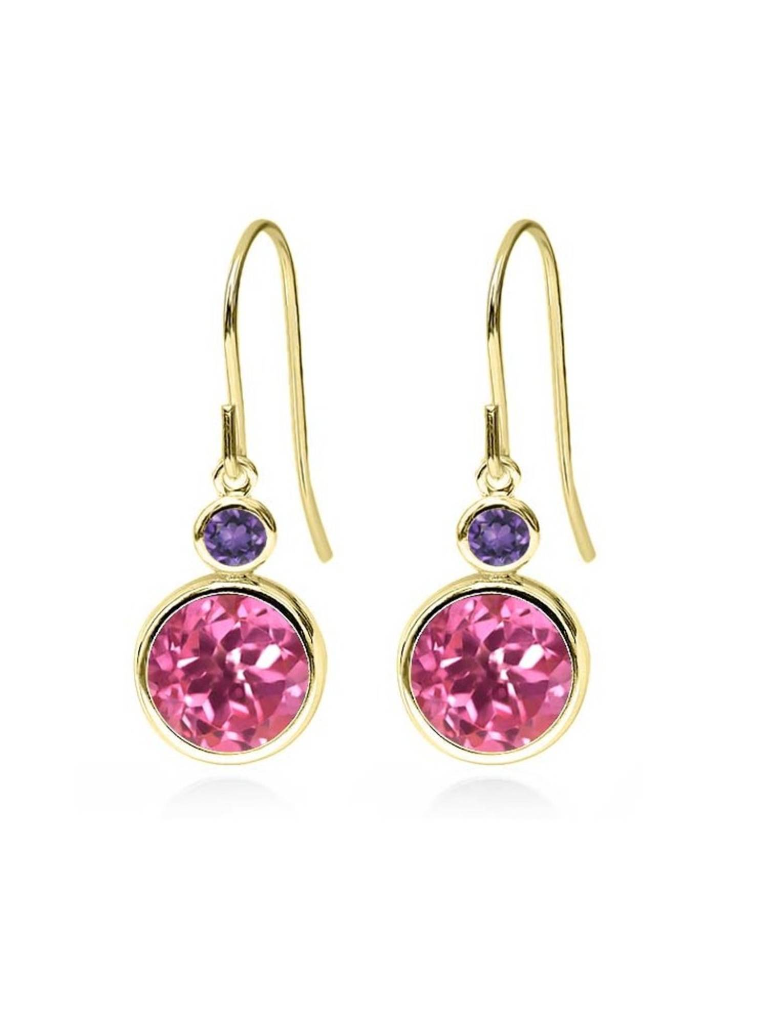 4.90 Ct Round Pink Mystic Topaz Purple Amethyst 14K Yellow Gold Earrings by