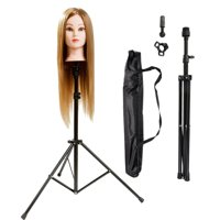 WALFRONT Adjustable Wig Head Tripod Stand Mannequin Head Metal Tripod Hairdressing Training Head Holder Canvas Wig Stand Tools With Carry Bag (Black)