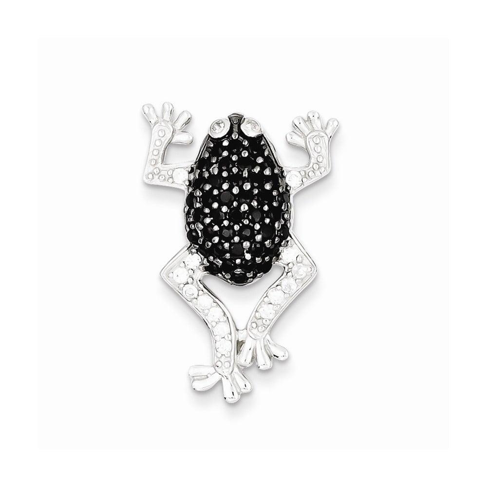 Sterling Silver Black & White CZ Frog Pendant