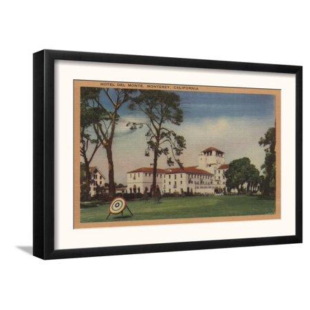 Hotel Del Monte and Archery Lawn - Monterey, CA Framed Art Print Wall Art  - (Inn At Del Monte Beach Monterey Ca)