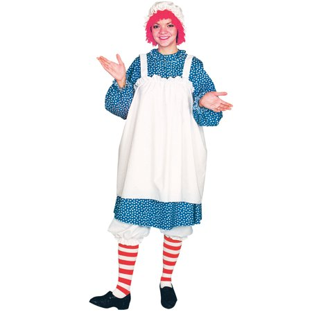 Gothic Raggedy Ann Halloween Costumes (Raggedy Ann Adult One Size Women's Costume w/ Dress Bloomers Cap Wig &)