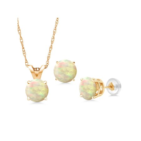 Cabochon Jewelry Set - 2.25 Ct Cabochon Ethiopian Opal 14K Yellow Gold Pendant Earrings Set With Chain