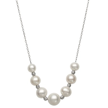 Graduated Cultured Freshwater Pearl and Faceted Bead Sterling Silver Chain Necklace, (Graduated Beaded Chain)