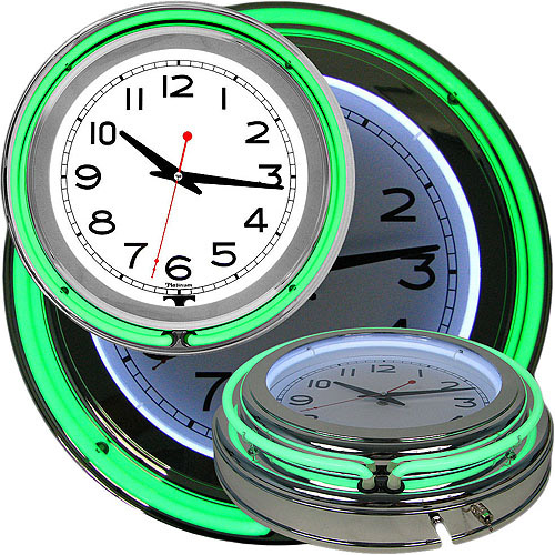 "14"" Double Ring Neon Clock, Green Outer & White Inner Ring"