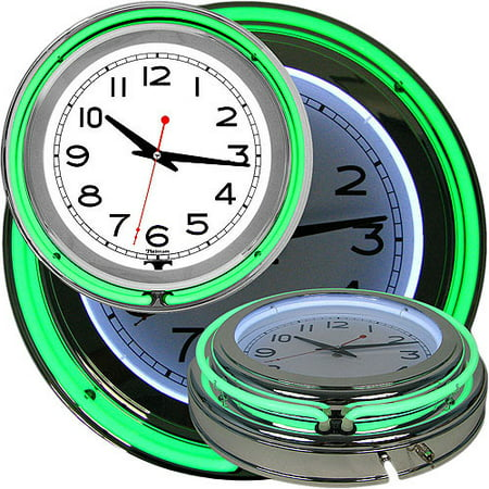 - Retro Neon Wall Clock - Battery Operated Wall Clock Vintage Bar Garage Kitchen Game Room – 14 Inch Round Analog by Lavish Home (Green and White)
