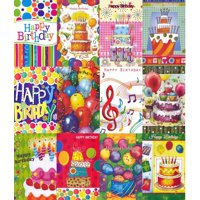12 Colorful Assorted Birthday Greeting Cards
