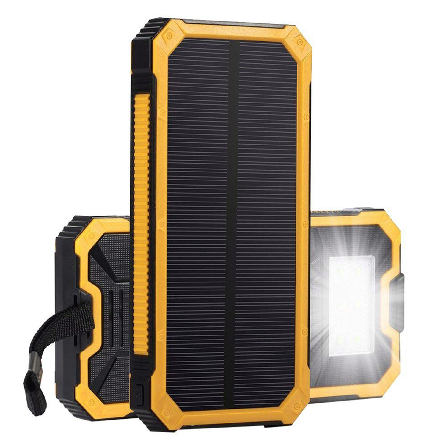 Waterproof 300000mAh Solar Power Bank Dual USB Battery Bank Solar Charger Portable External Backup Battery Pack for cell phone with LED Light Yellow