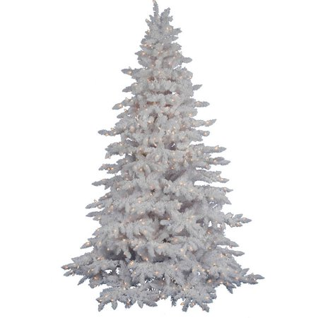 Vickerman 9' Flocked White Spruce Artificial Christmas Tree with 1200 Warm White LED Lights ()