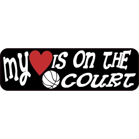 10In X 3In My Heart Is On The Court Basketball Bumper Sticker Car Sport Sticker