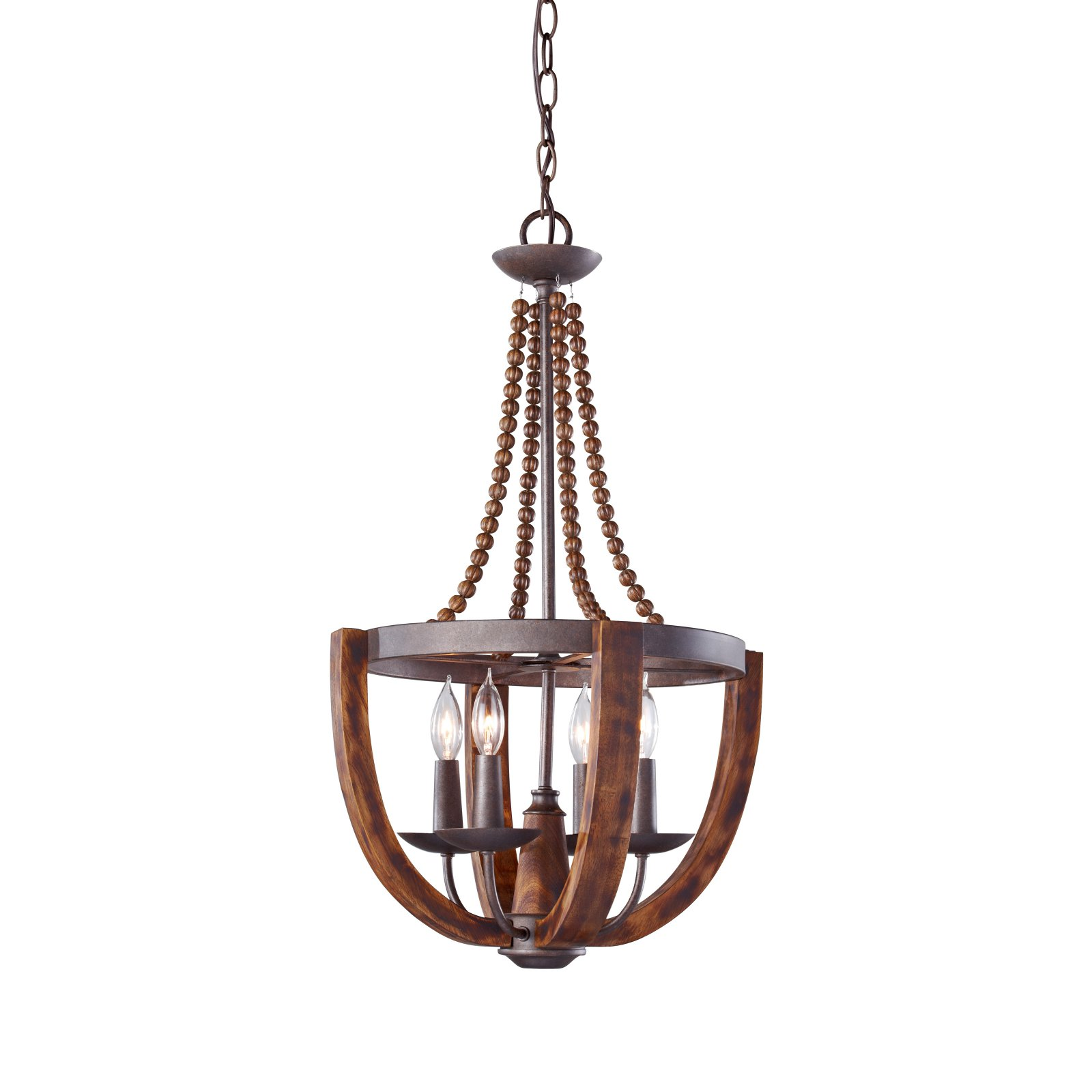 Feiss Adan Chandelier 16.38W in. Rustic Iron Burnished Wood by Murray Feiss