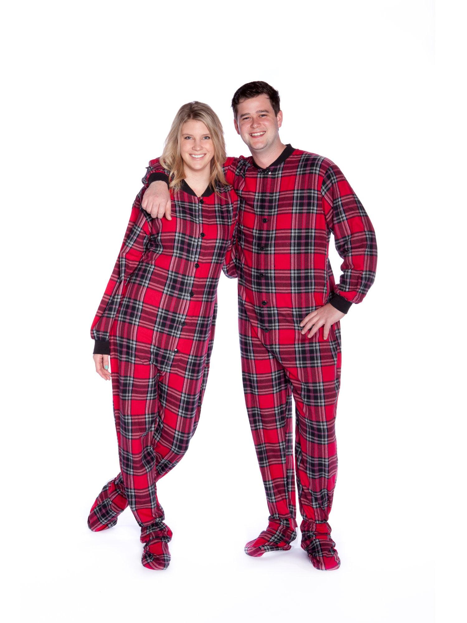 418559675 Red   Black Plaid Cotton Flannel Adult Footie Pajamas Sleeper ...