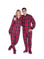 Big Feet PJs Red   Black Plaid Cotton Flannel Adult Footie Footed Pajamas  w  Drop seat ef494a8a1