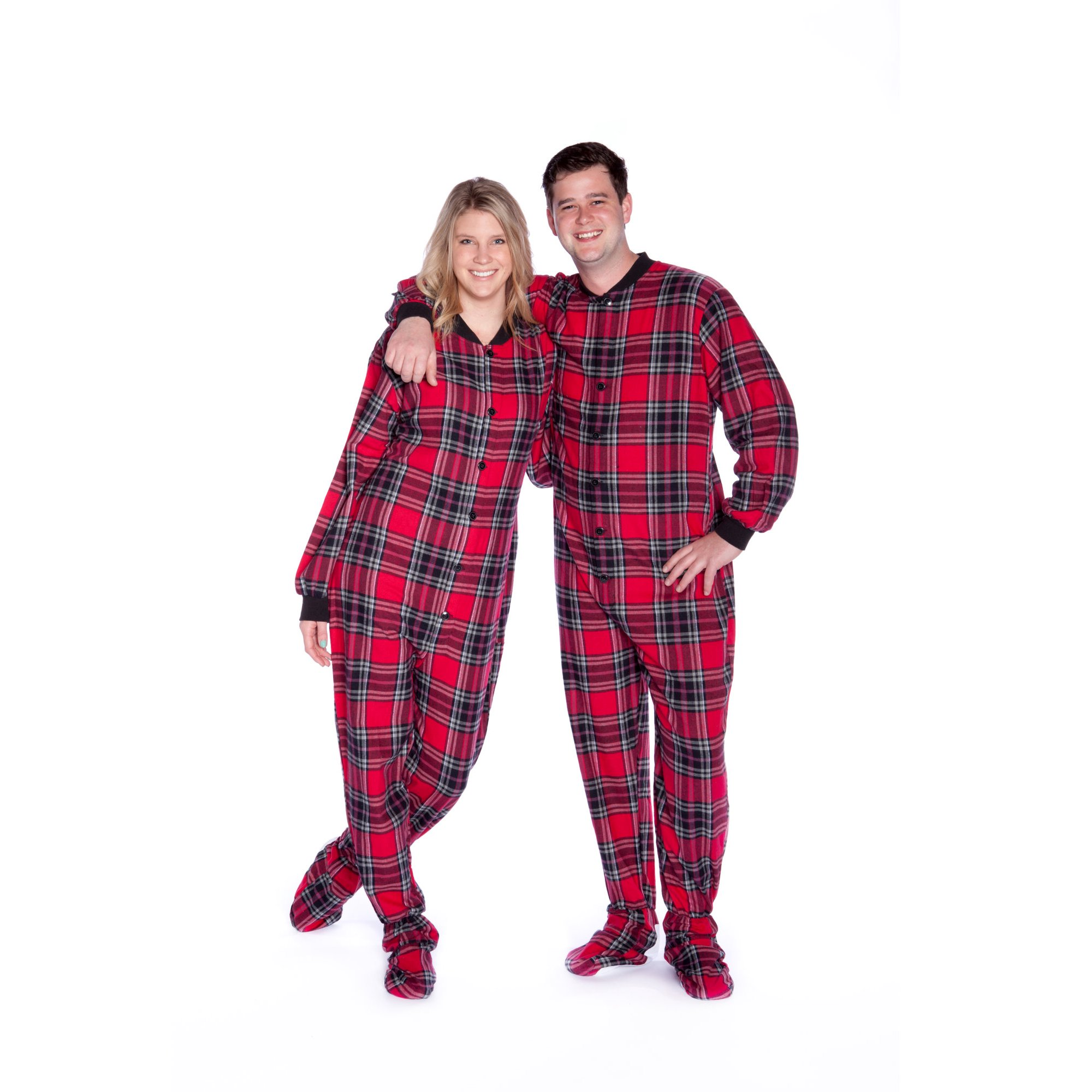 e88c006bad15 Big Feet PJs Red   Black Plaid Cotton Flannel Adult Footie Footed ...