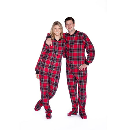 Red & Black Plaid Cotton Flannel Adult Footie Pajamas Sleeper Footed (Red Footed Pajamas For Adults With Drop Seat)