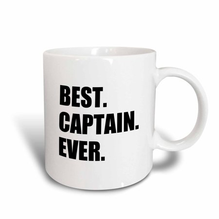 3dRose Best Captain Ever. for ship boat sailing army police starship captains, Ceramic Mug,