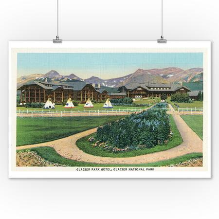 Glacier Natl Park  Montana   Exterior View Of The Glacier Park Hotel  9X12 Art Print  Wall Decor Travel Poster