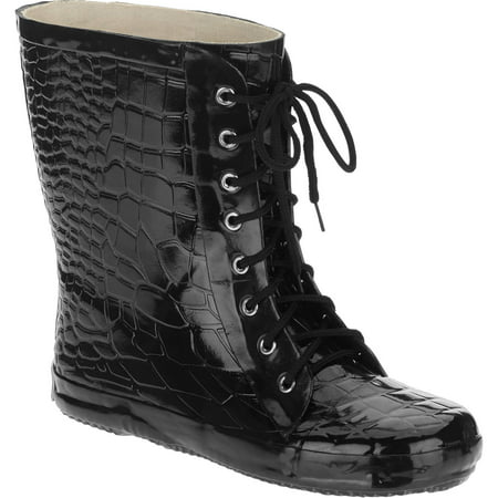 Forever Young Women's Lace Up Croc Texture Short Rain Boot
