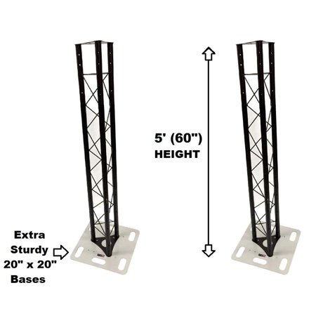 Two (2) Totem 1.5 meter 5ft Black Triangle Metal Truss Tower + 20