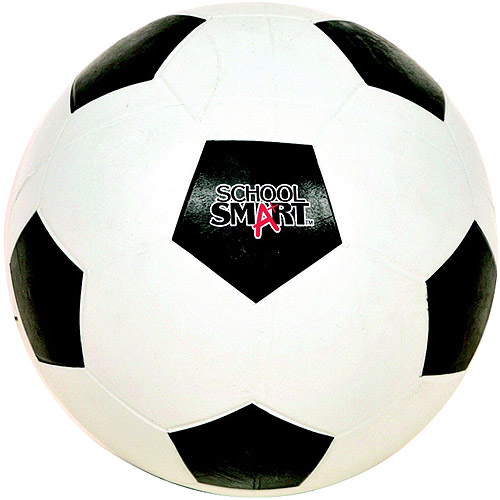 School Smart Natural Rubber Soccer Ball, Black and White, Size 4