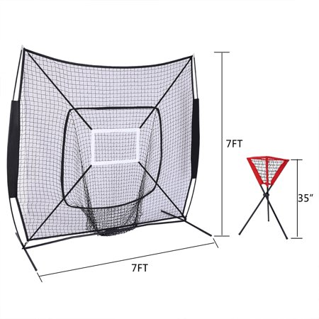 Ktaxon 7'x 7' Baseball Net, Professional Portable Softball Batting Hitting Practice Training, with Ball Caddy
