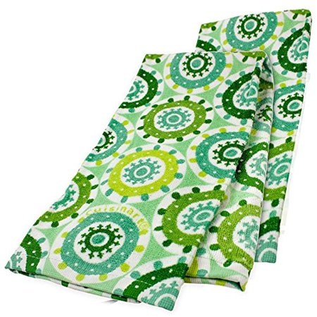 Cuisinart 2 Pack Cotton Kitchen Towels, Medallion (Green, Lime Green)