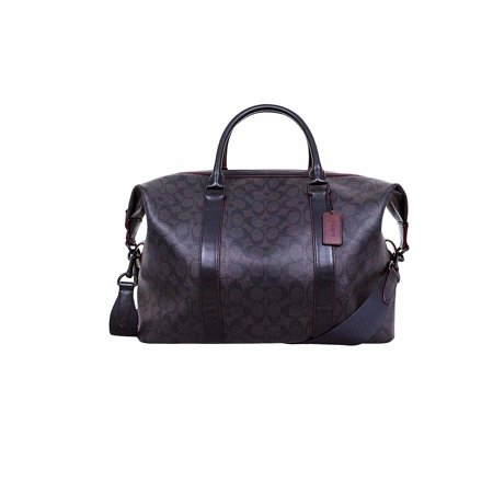 COACH DUFFEL VOYAGER BAG IN SIGNATURE CANVAS F23207, Black/Black/Oxblood