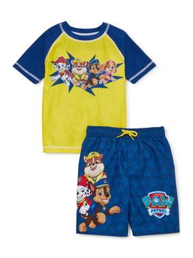 Paw Patrol Boys Rash Guard Swim Shirt & Swim Trunks, 2-Piece Set, UPF 50+, Sizes 4-7