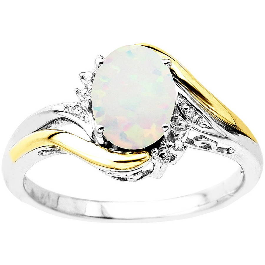 Duet Sterling Silver with 10kt Yellow Gold Oval Created Opal and Diamond Accent Ring