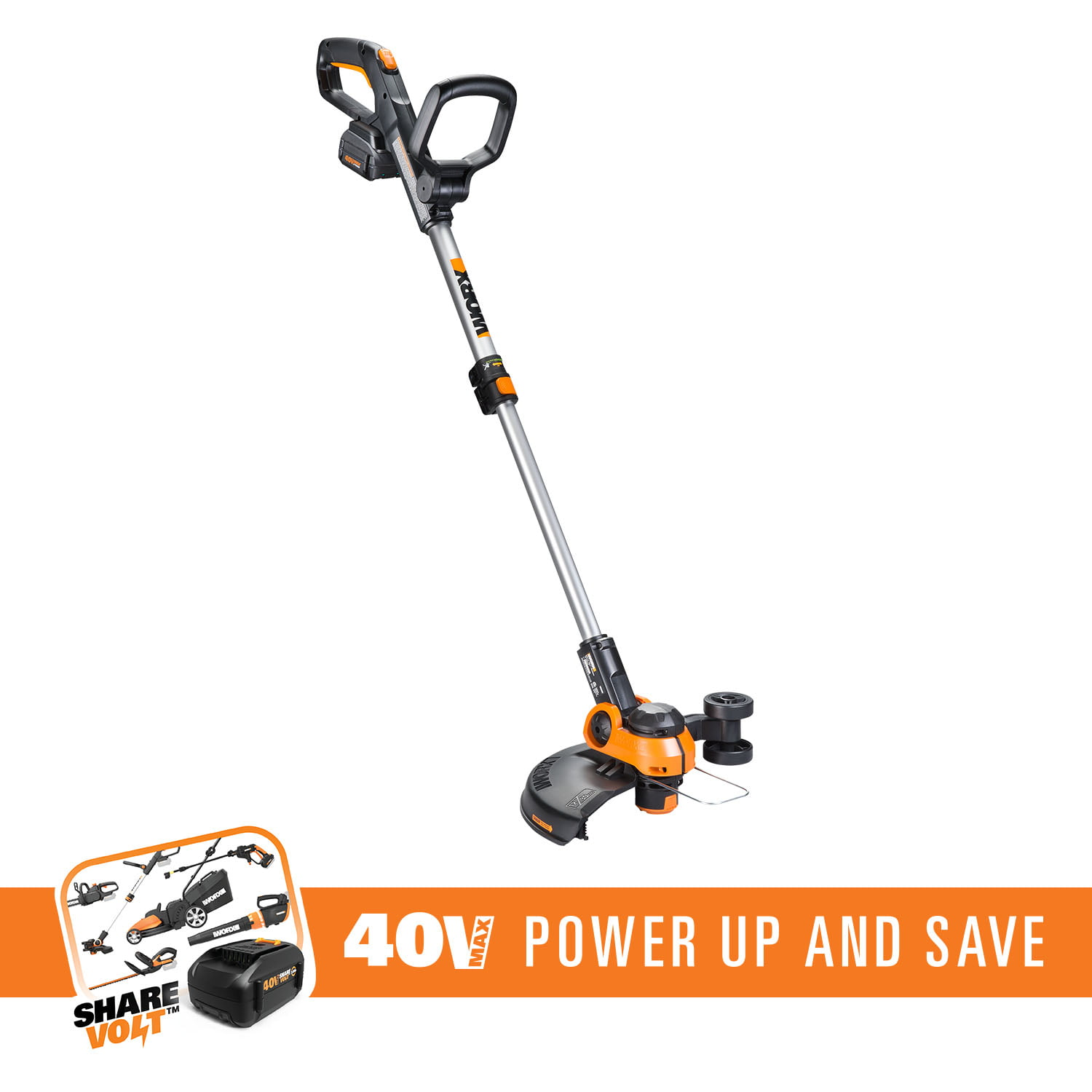 WORX WG180 40V 2-In-1 String Trimmer Edger With 12� Trim Diameter, CommandFeed, 90� Tilting Head And... by Positec Technology