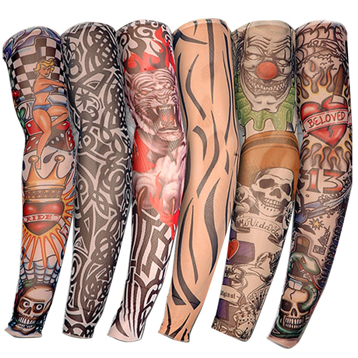 6pcs Stylish Breathable Tattoo Arm Sleeves Sun Protection Fake