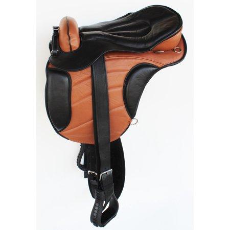 English Horse Polo Western  Leather Treeless Saddle Girth Stirrups (Western Saddle Stirrups)