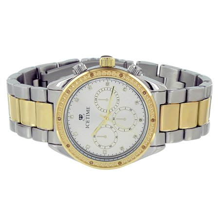 Ice Time Watch Brand New Gold   Silver Tone 0 10Ct Genuine Diamond Analog Display