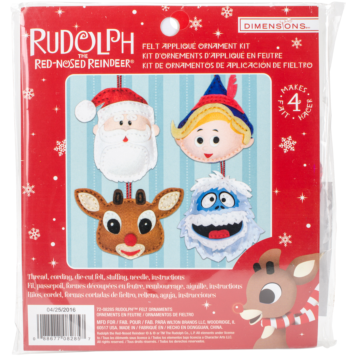 Dimensions Felt Ornaments Applique Kit Set Of 4-Rudolph The Red Nose Reindeer