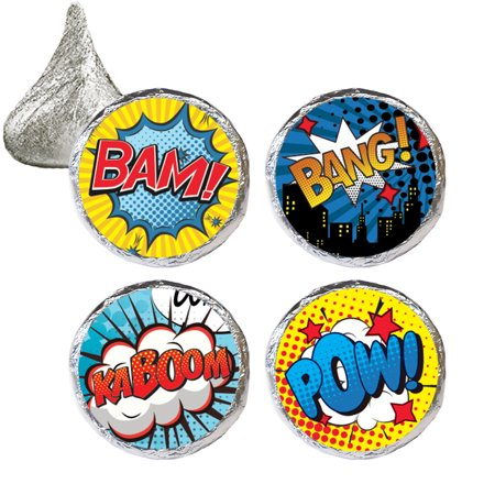 Superhero Party Favor Stickers 324 count - Comic Superhero Birthday Party Decorations Supplies Super Hero Candy Stickers - 324 Count Stickers