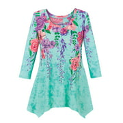 Collections Etc Women's Cascading Floral Knit Sharkbite Hem Tunic Top TURQUOISE LARGE