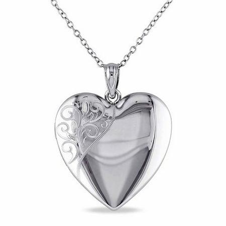 Sterling Silver Heart Locket Women's Pendant Necklace, 18 ()