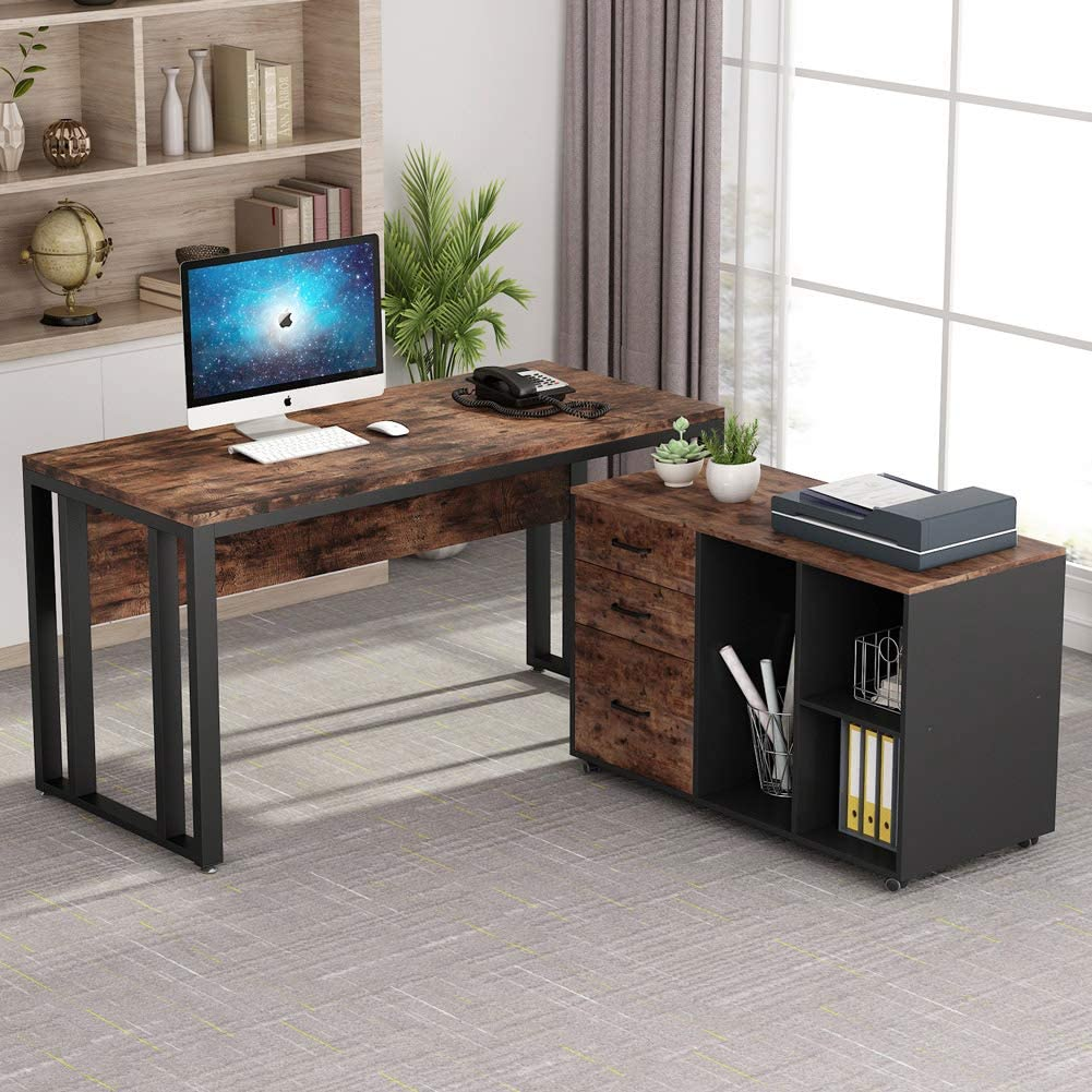 Tribesigns L-Shaped Computer Desk, 55 Inch Large Executive