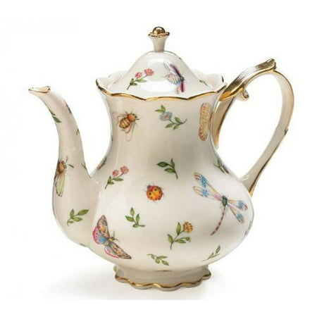Golden Garden Teapot (Porcelain Butterfly & Dragonfly Teapot Trimmed In Gold)
