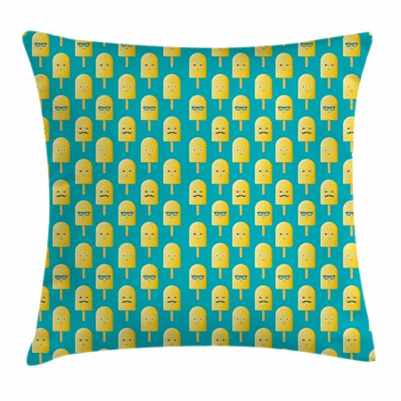 Yellow And Blue Throw Pillow Cushion Cover Lemon Flavor Ice Cream Gorgeous Ice Blue Decorative Pillows