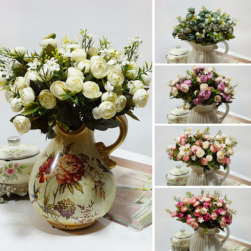 HiCoup 1 Bouquet 5 Branches Artificial Fake Flower Wedding Bridal Party Home Decor