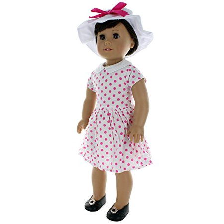 Pink Butterfly Closet Doll Clothes - 60's Style Dress with Beautiful Hat Fits American Girl Doll and 18 inch Dolls - image 1 of 1