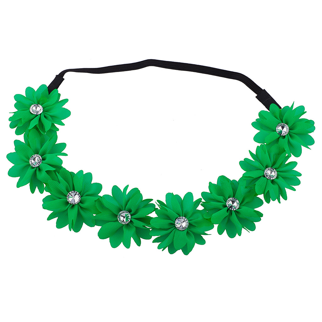 Lux Accessories Green Flower Floral Chiffon Headband