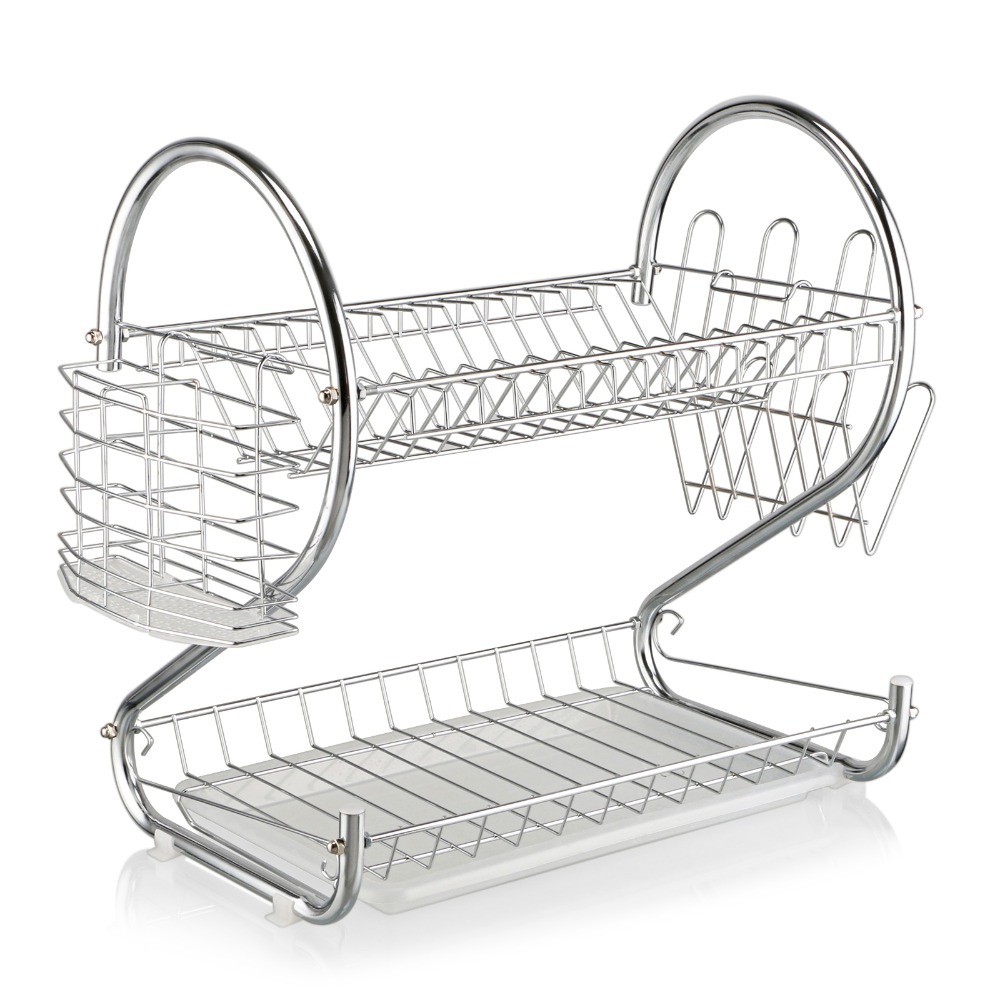 New 2 Tiers Chrome Kitchen Dish Cup Drying Rack Drainer Dryer Tray Cutlery Holder Organizer