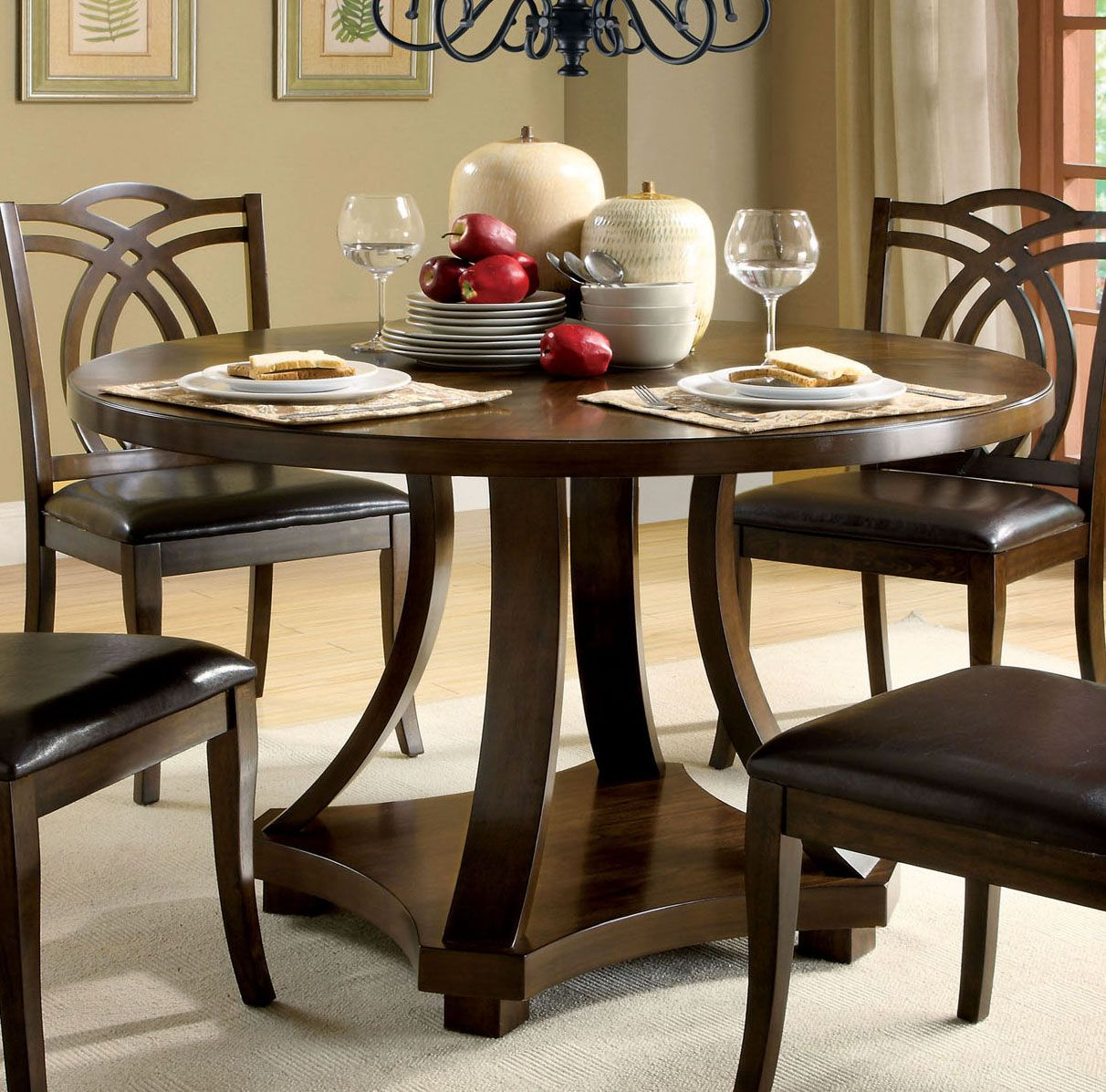 Transitional Round Dining Table, Dark Walnut Brown