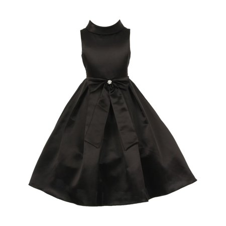 Little Girls Black Bridal Dull Satin Bow Rhinestone Flower Christmas Dress 4