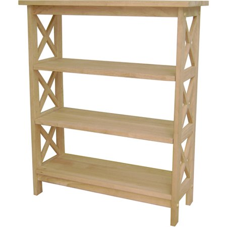 International Concepts 3 Tier X Sided Shelf Unit  Unfinished