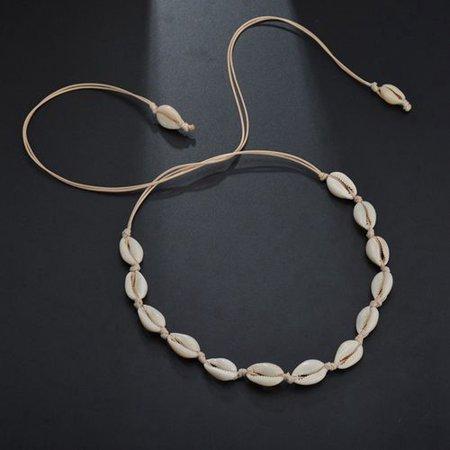 Fancyleo 1 PCS Bohemian Pearl Shell Beads Necklaces Beach Choker Handmade Hawaiian Clavicle Necklace Adjustable Shell Chokers for Women Beaded Shell Cross